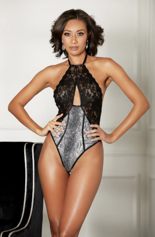 shirley of hollywood snake skin teddy with black halter neck