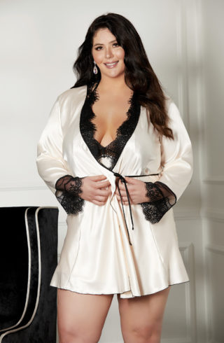 shirley of hollywood womens short robe in blush and black lace in plus sizes