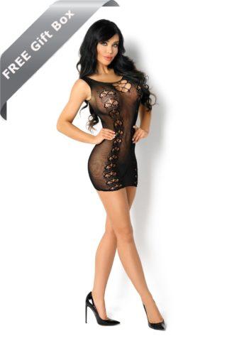 ladies black fishnet dress